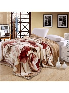 Muted Camel Colored Flowers Printing Skin Care Raschel Blanket