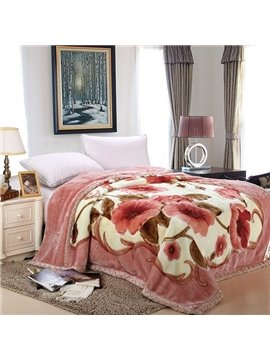 Graceful Floral Printing Skin-care Raschel Blanket for Winter