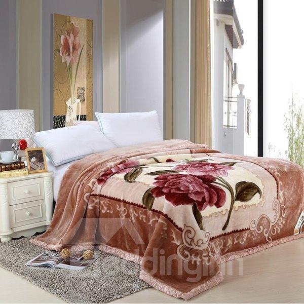 European Style Jacquard Design Brown Raschel Blanket