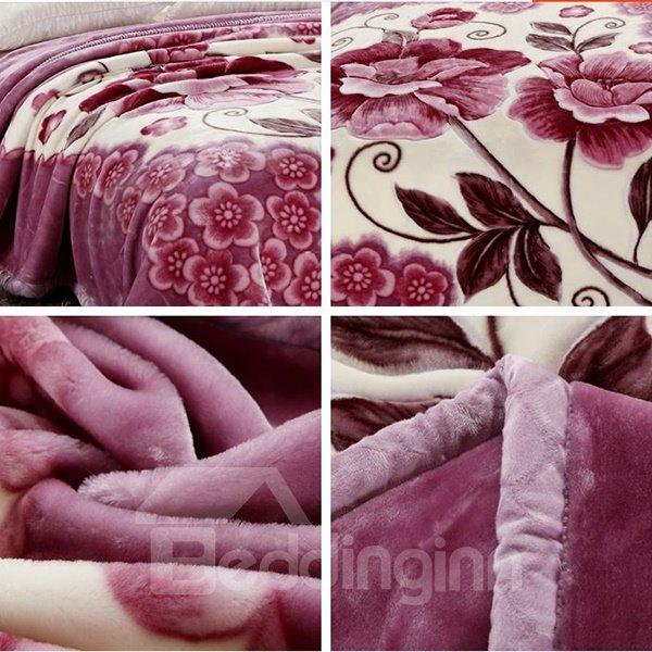 Light Purple Small Flowers Printing Raschel Blanket