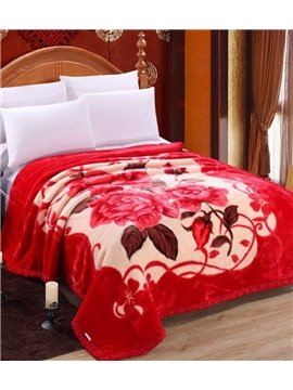Bright Red Peonies Printing Super Warm Raschel Blanket