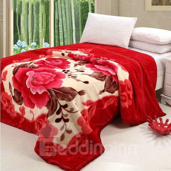 Beautiful Red Flowers Top Class Raschel Blanket