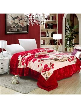 Butterflies Flying among Red Flowers Printing Raschel Blanket