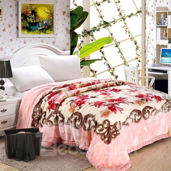 High Grade Pretty Pink Lily Print Raschel Blanket