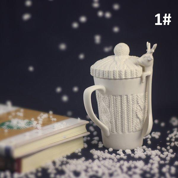 Christmas Theme Reindeer Design Spoon Ceramic Coffee Mug