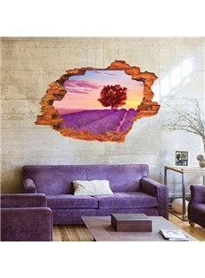 Wonderful Wall Hole View Lavender Field Removable 3D Wall Sticker