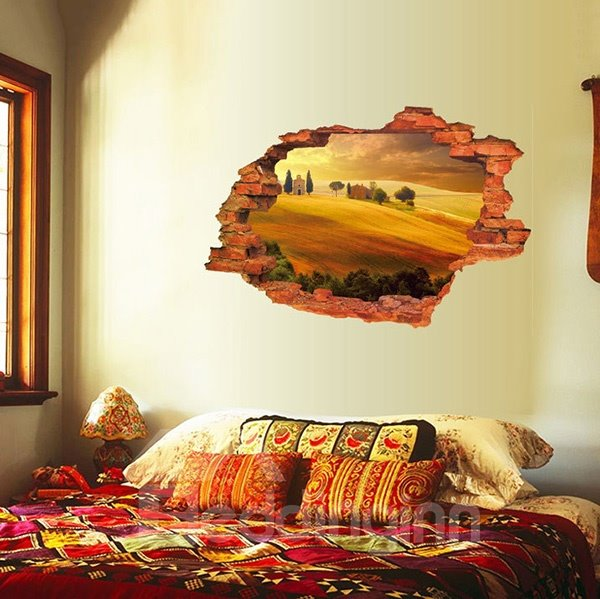 Unique Wall Hole View Village and Desert Removable 3D Wall Sticker