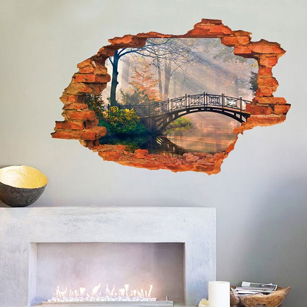 creative wall hole view dim forest removable 3d wall