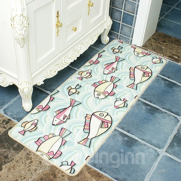 Creative Cartoon Fish Pattern Bathroom Kitchen Anti-Slipping Doormat