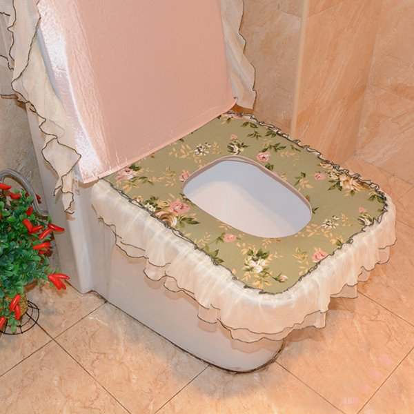 Fresh Pastoral Style Squarish Fit 3 Pieces Toilet Seat Cover Set