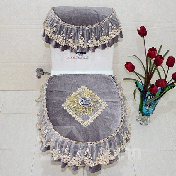 Noble Court Style Pleuche 3 Pieces Toilet Seat Cover Set