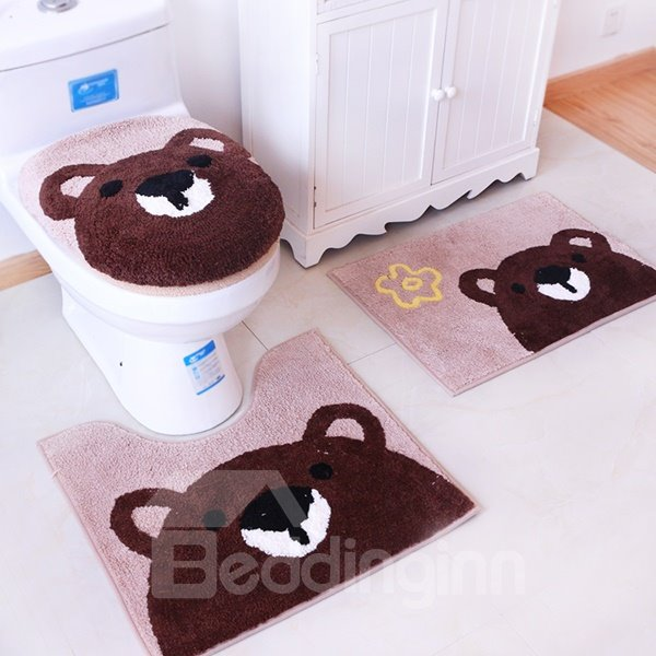 Super Lovely Bear Pattern 4 Pieces Toilet Seat Cover Set