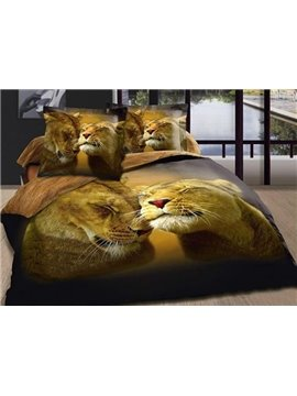3D Lions Print 100% Cotton Duvet Cover