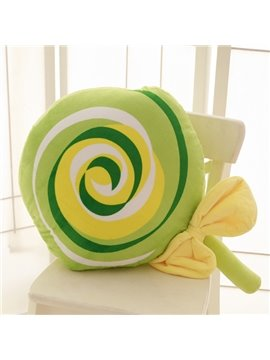 Sweet Lollipop Shaped Green Plush Throw Pillow