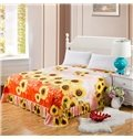 Bright Yellow Sunflowers Printing  Skin-care Cotton Bed Skirt