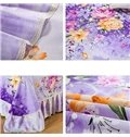 Elegant Peonies and Lilies Printing Purple Cotton Bed Skirt