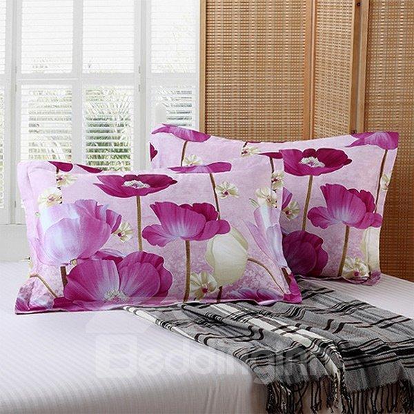 Romantic Bright Purple Flowers Print Cotton 2-Piece Pillow Cases
