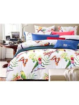 American Pastoral Style Butterflies and Birds Printing 4-Piece Cotton Duvet Cover Sets
