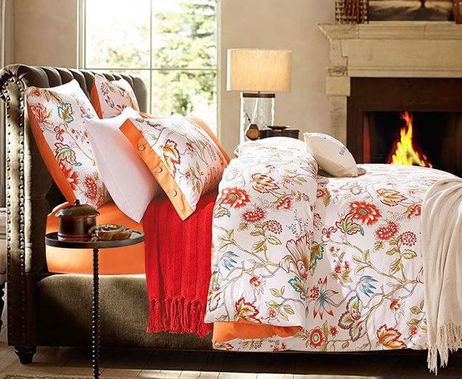 American Pastoral Style Bright Flowers Printing 4-Piece Cotton Duvet Cover Sets