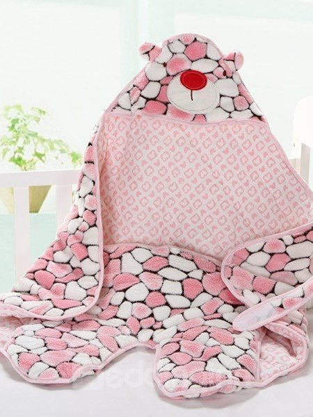 Lovely Pink Bear Warm&Soft Coral Fleece Baby Sleeping Bag