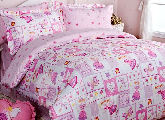 Pink Magic Princess Cotton Girls 3-Piece Duvet Cover Sets