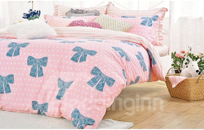 Lovely Blue Bowknot Pattern Cotton Kids 4-Piece Duvet Cover Sets