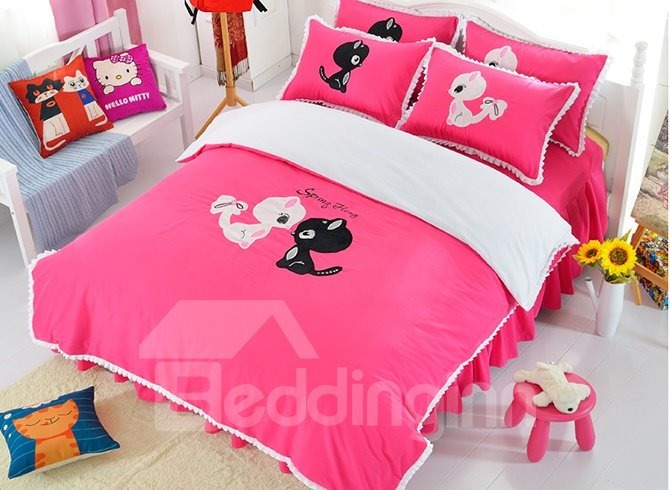 Pink Cute Two Cats Print Cotton Girls 3-Piece Duvet Cover Sets
