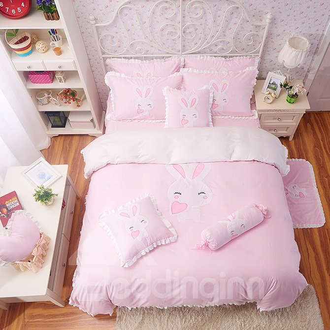 Light Pink Cute Rabbit Print Cotton Girls 3-Piece Duvet Cover Sets