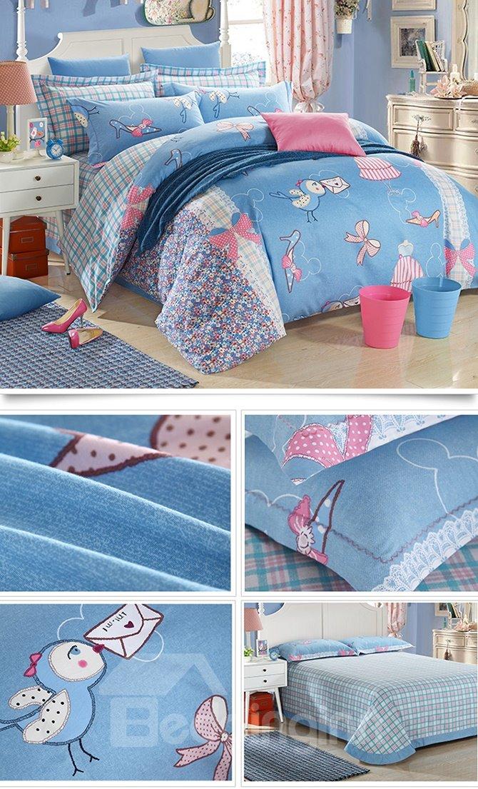 Blue Romantic Dream Cotton Kids 3-Piece Duvet Cover Sets