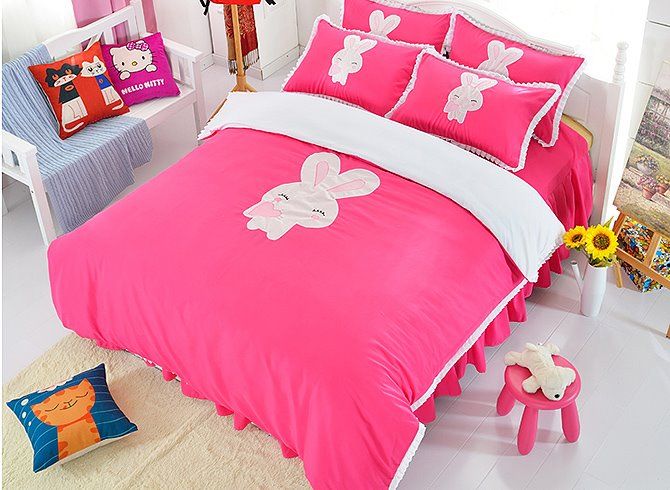 Cute Rabbit Print Rose Red Girls 3-Piece Duvet Cover Sets 11599823