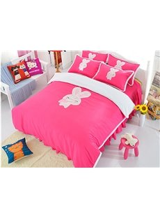 Cute Rabbit Print Rose Red Girls 3-Piece Duvet Cover Sets