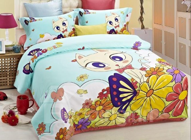 Lovely Cat and Flowers Print Kids 3-Piece Duvet Cover Sets