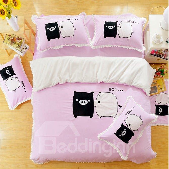 Super Cute Baby Pig Print Cotton Kids 3-Piece Duvet Cover Sets