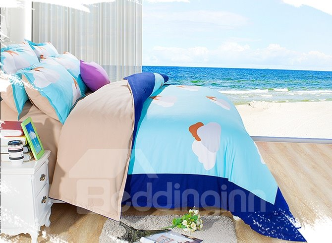 Clear Blue Sky and Clouds Print Kids 3-Piece Duvet Cover Sets