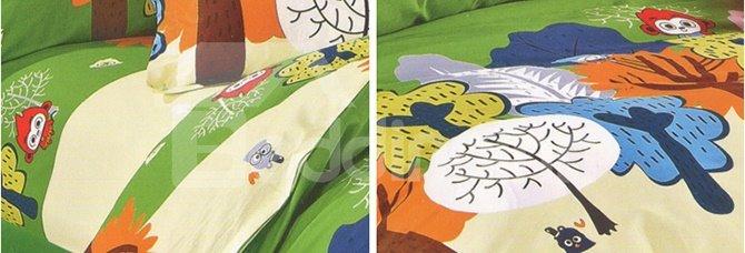 Happy Forest Family 100% Cotton Kids 3-Piece Duvet Cover Sets