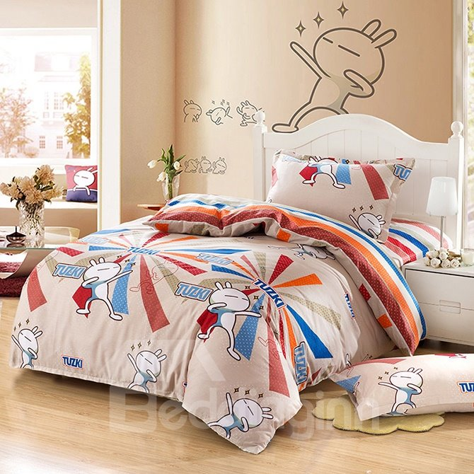 Lovely Rabbit Pattern Purified Cotton Kids 3-Piece Duvet Cover Sets