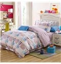 Energetic Plaid Pattern Kids 100% Cotton 3-Piece Duvet Cover Sets