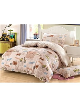 Cool Cars Pattern Purified Cotton Kids 3-Piece Duvet Cover Sets