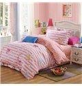 Stripes and Bowknot Pattern Kids 100% Cotton 3-Piece Duvet Cover Sets