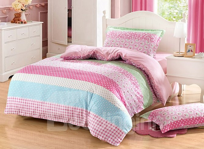 Stripes and Polka Dots Pattern Purified Cotton Kids 3-Piece Duvet Cover Sets