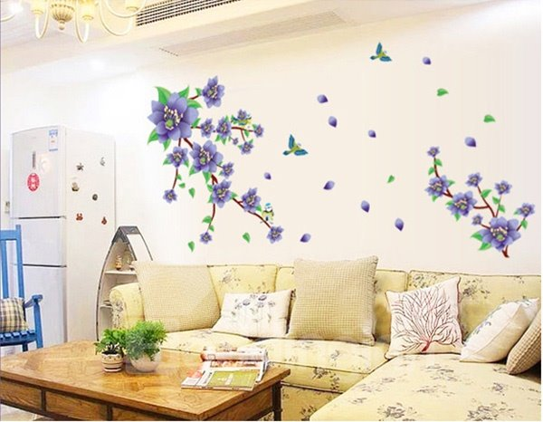 Romantic Purple Flower Living Room Bedroom Removable Wall Sticker