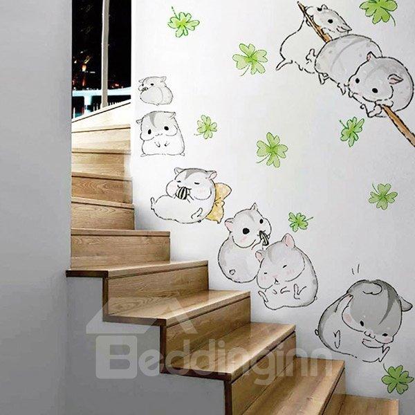 Cute Little Hamsters Removable Wall Sticker
