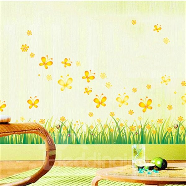 Green Grass and Butterfly Skirting Line Removable Wall Sticker
