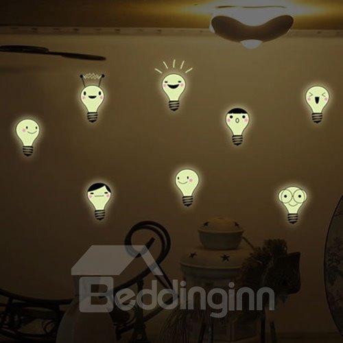 Creative Expression Bulb Design Luminous Wall Sticker 2-Piece