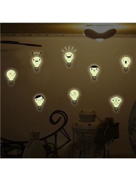 Creative Expression Bulb Design Luminous Wall Sticker 2-Piece