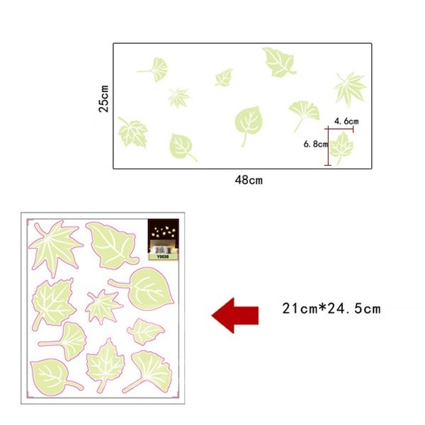 Stunning Luminous Leaf Design Wall Sticker 2-Piece