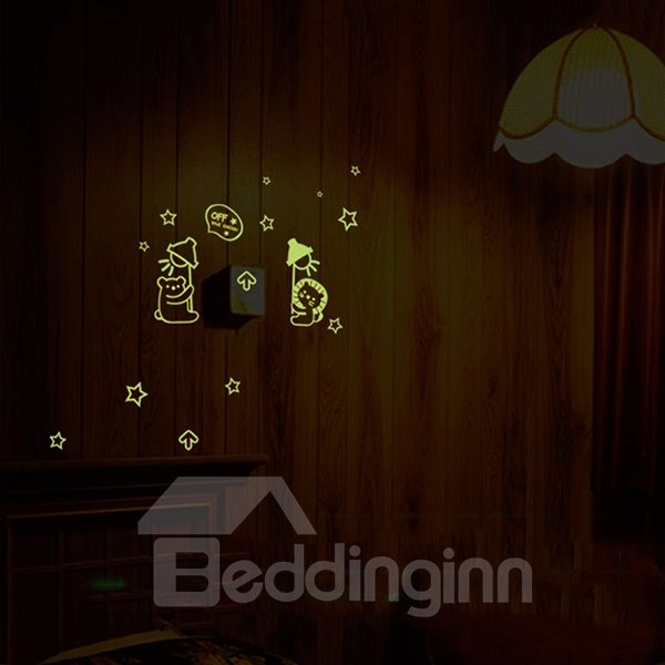 Creative Cartoon Luminous Light Switch Wall Sticker 2-Piece