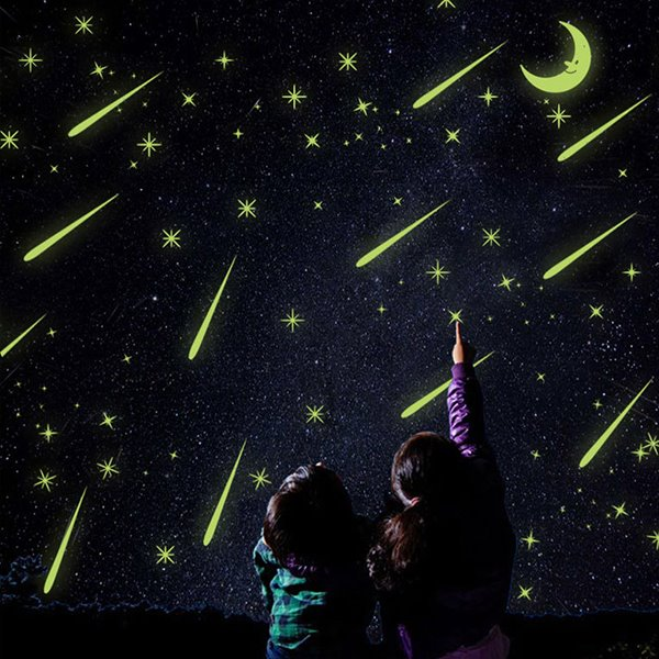 Amazing Meteor Shower Design Luminous Wall Sticker 3-Piece