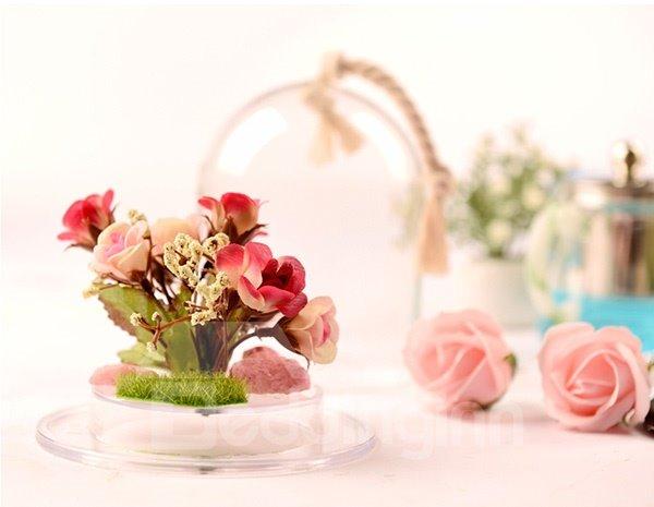 Wonderful Desktop Decoration Glass Cover Flower Sets