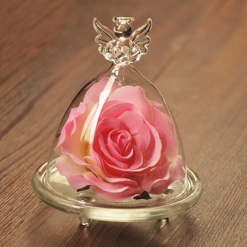 Wonderful Desktop Decoration Angel Glass Cover Rose Flower Sets